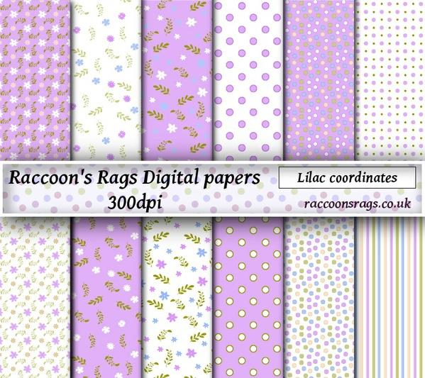"Digital paper ""Lilac coordinates"" Twelve  12"" x 12"" images: art journal, collage, scrapbook, cards"