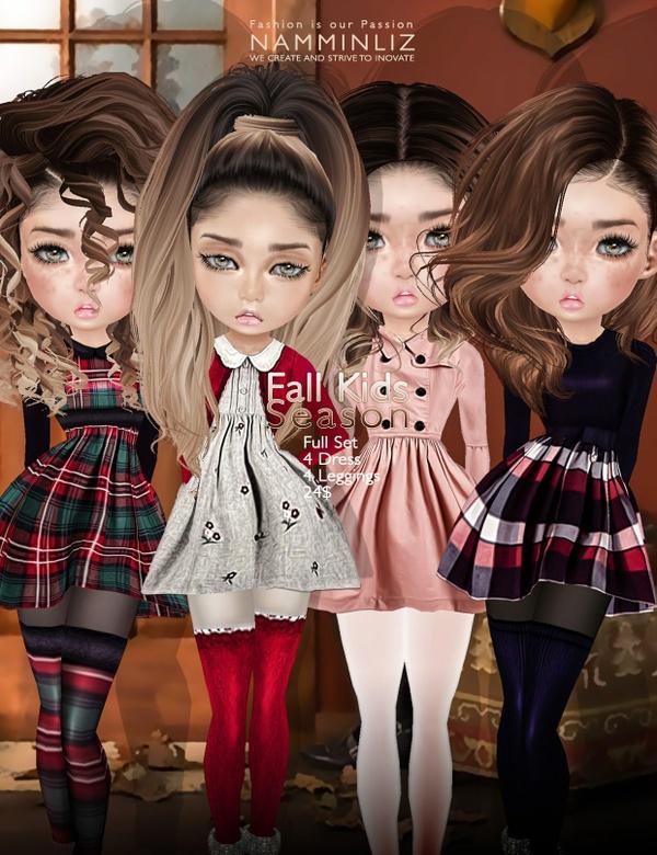 Fall Kids Season Full SETimvu texture JPG ( Bibirasta dress )