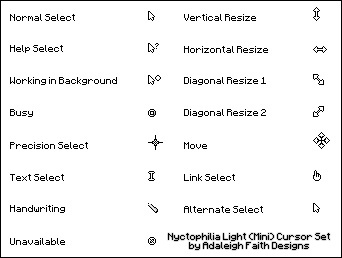 Nyctophilia Light (Mini) Cursor Set