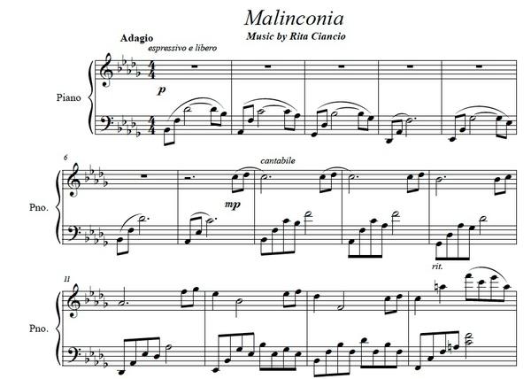 """""""Malinconia"""" - Rita Ciancio (Piano Sheet Music)"""