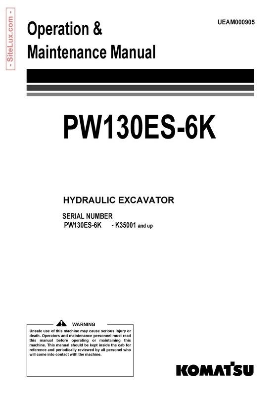Komatsu PW130ES-6K Hydraulic Excavator (K35001 and up) OM Manual - UEAM000905
