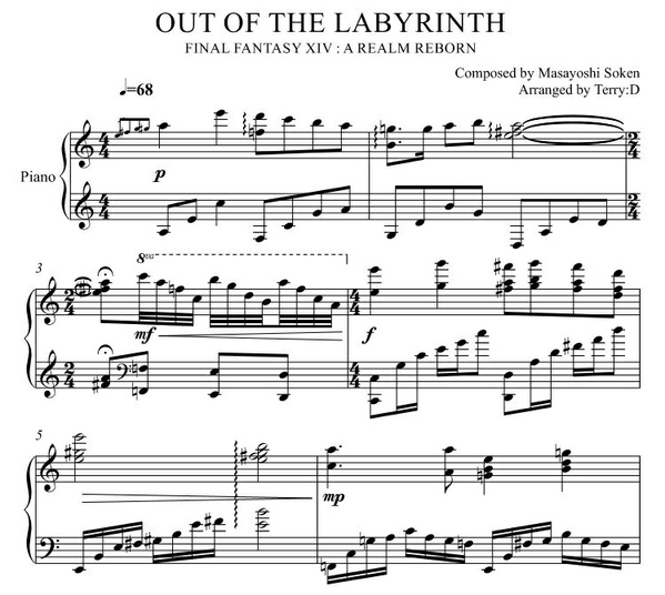 """Out of Labyrinth(Arr.by Terry:D)""for Piano solo from Final Fantasy XIV"