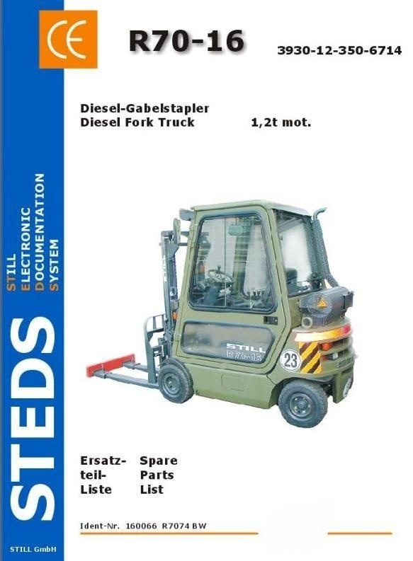 Still Diesel Fork Truck Type R70-16 Military: R7074 BW Parts Manual