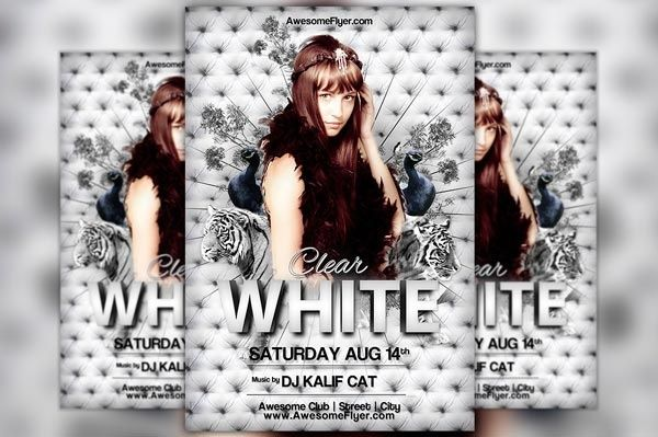 White Tiger Club Party Flyer Template