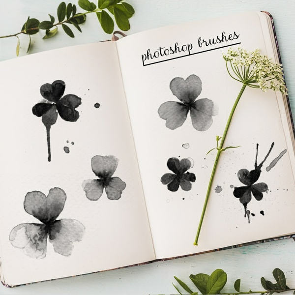 photoshop brushes - watercolor clovers