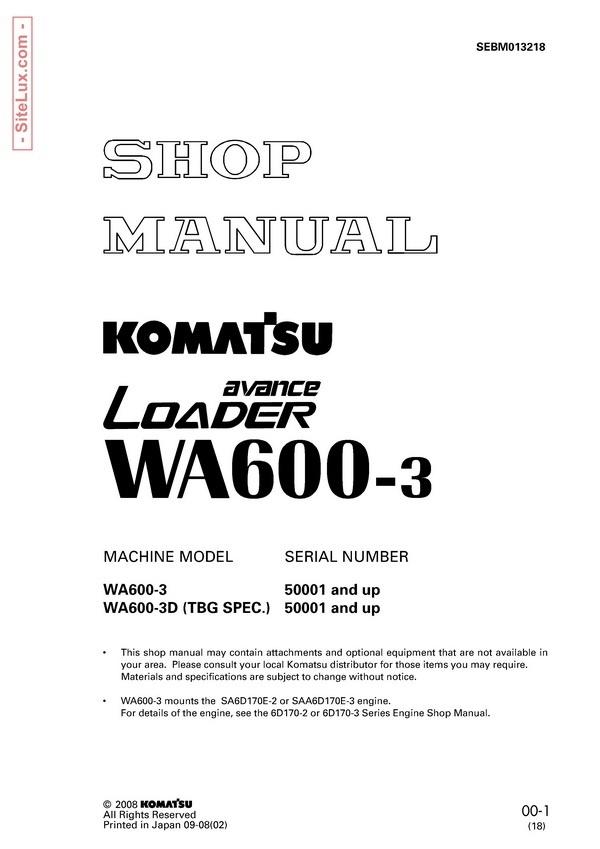 Komatsu.WA600-3 avance Wheel Loader Shop Manual - SEBM013218