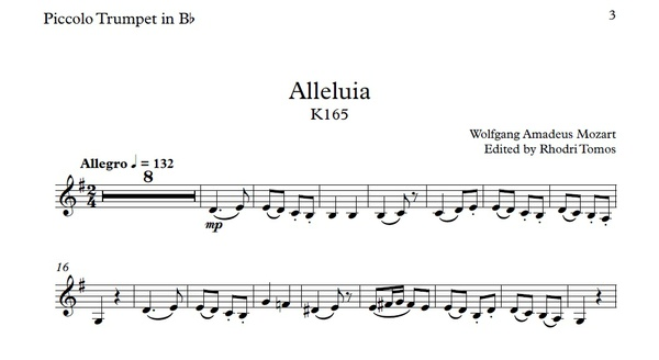 Mozart Alleluia K165 - play along sing along accompaniment mp3 and sheet music pdf