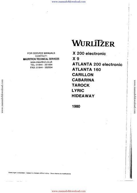 Wurlitzer Lyric Service Manual