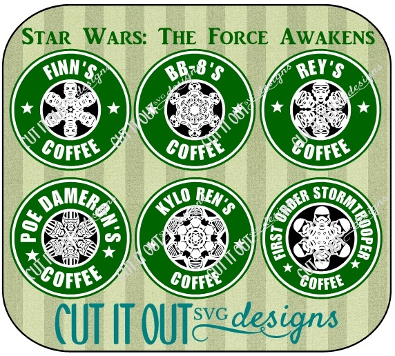Star Wars: The Force Awakens Set of 6 Snowflake Style Starbucks Coffee Labels SVG