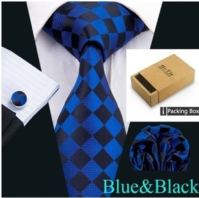 B Royal Designs Blue/Blk Checker Tie Set (Shipping Included)