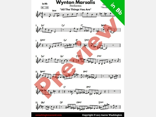 "Wynton Marsalis ""All the Things You Are"" (in Bb)"