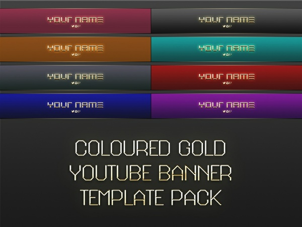 Coloured Gold YouTube Banner Photoshop Templates