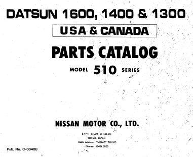 Datsun 1600 1400 1300 Parts Catalog Model 510
