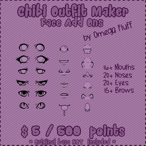 Chibi Outfit Maker FACE Add Ons