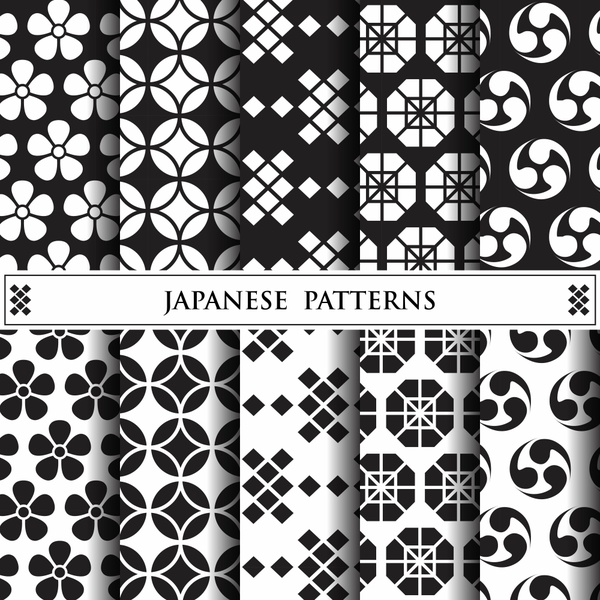 Abstract Seamless japanese patterns vector-02