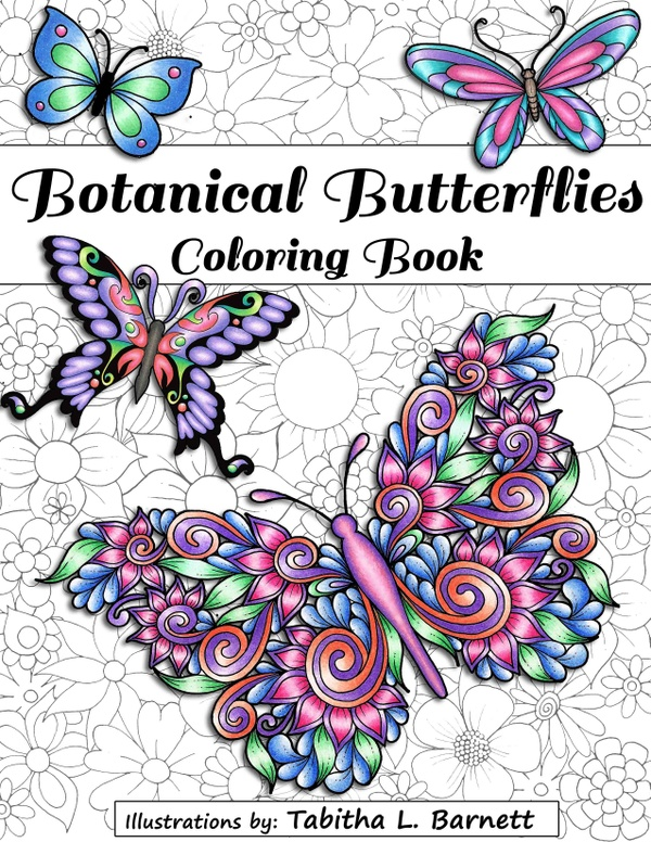 Botanical Butterflies Coloring Book PDF (58 pages to print and color)