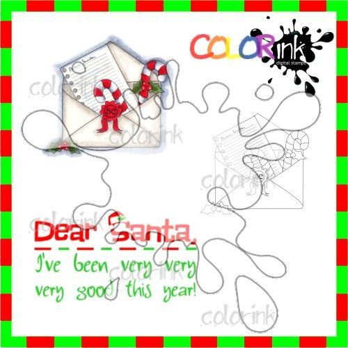 Dear Santa letter and sentiment Digi stamp