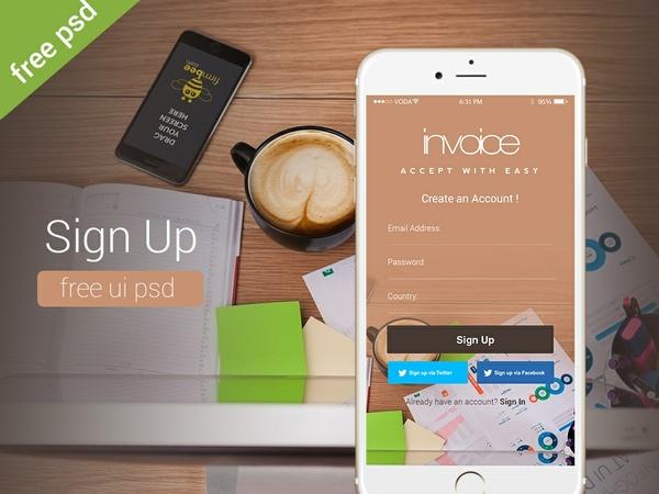 Free Sign Up Screen UI PSD