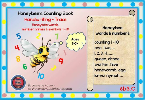 HANDWRITING BOOKLET: HONEYBEE WORDS & PICTURES & NUMBERS 1 - 10 - SMALL - 6b3C