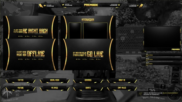 Twitch Package Black & Gold