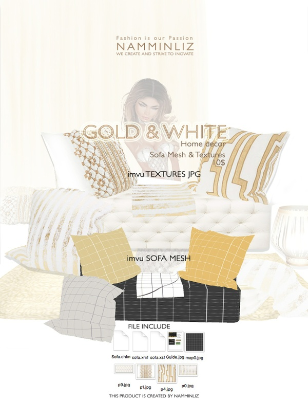 Gold & White imvu Sofa mesh & texture JPG, XSF, XMF, CHKN files