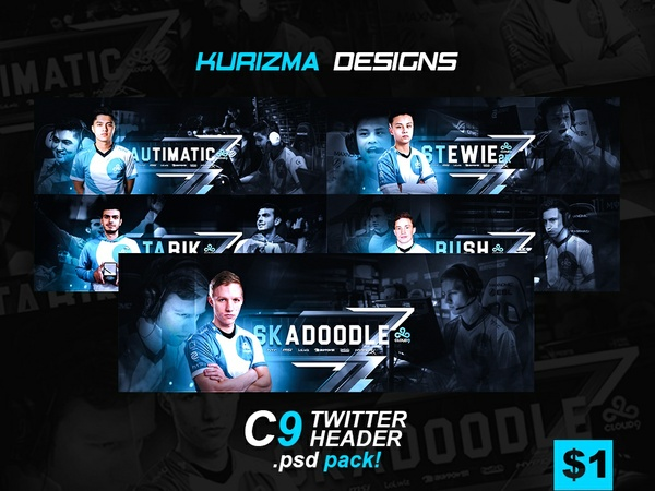 Cloud9 Twitter Headers .PSD Pack