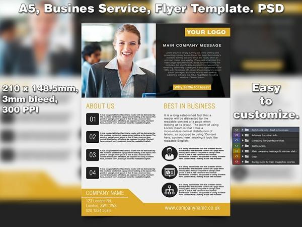 Business Service Flyer Template (A5 PSD)