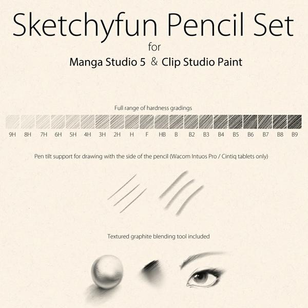 Sketchyfun Pencil Set for Manga Studio 5 & Clip Studio Paint