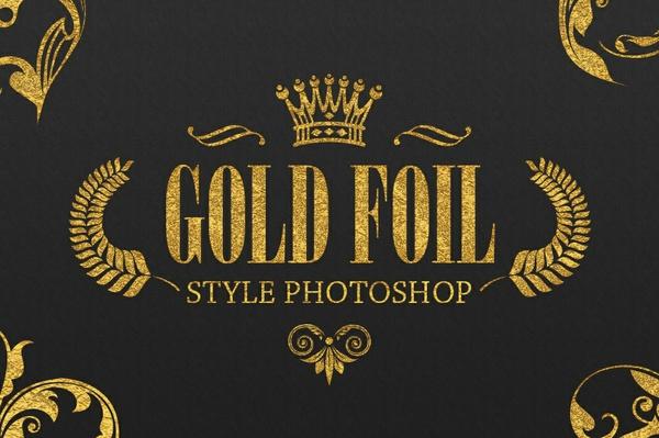 36 Gold Foil Style Photoshop