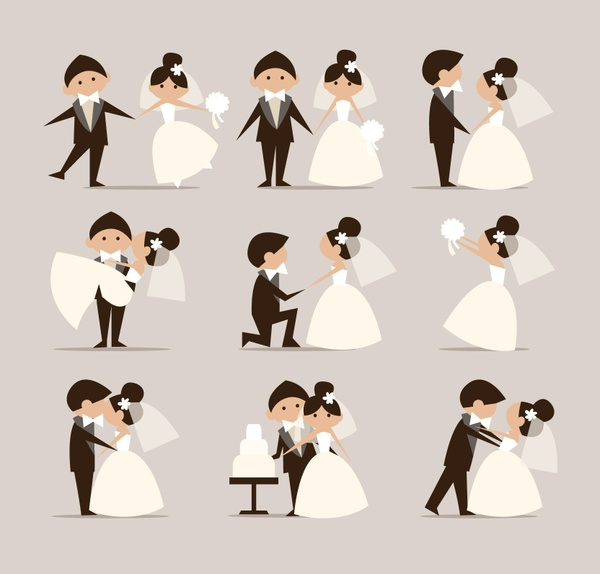 vector newly-married-doodles vector