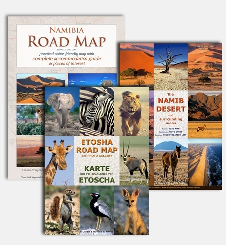 Set of 3 Namibia Maps: Namibia Road Map, Etosha Road Map & Namib Desert Road Map