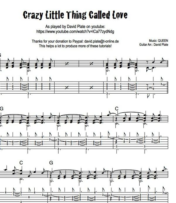 CRAZY LITTLE THING CALLED LOVE (Queen) - Fingerstyle Arrangement (TABs + Notation)