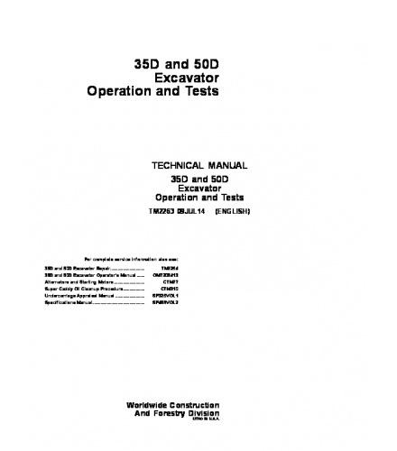 PDF John Deere 35D, 50D Excavator Operation and Test Manual TM2263 Instant Download