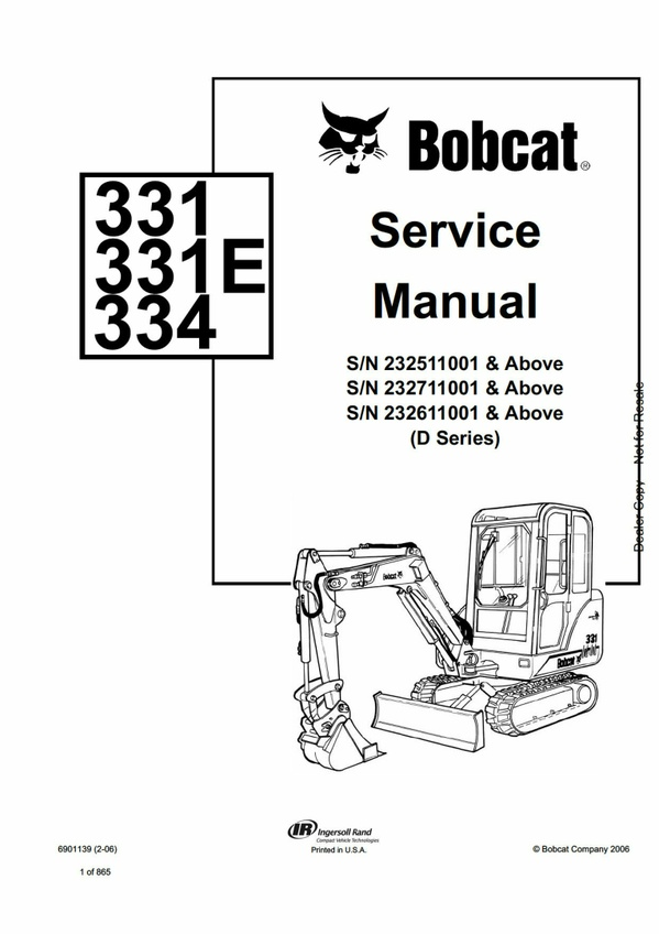 Pdf Bobcat 331, 331E, 334 Compact Excavator Service Manual SN 232611001 and Above