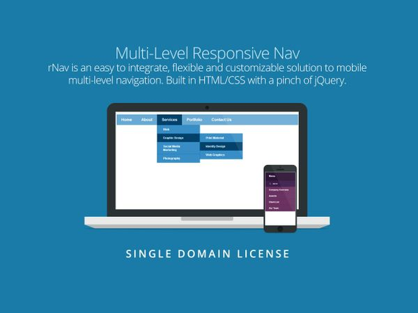 rNav - Multi-Level Responsive Nav (Single Domain License)