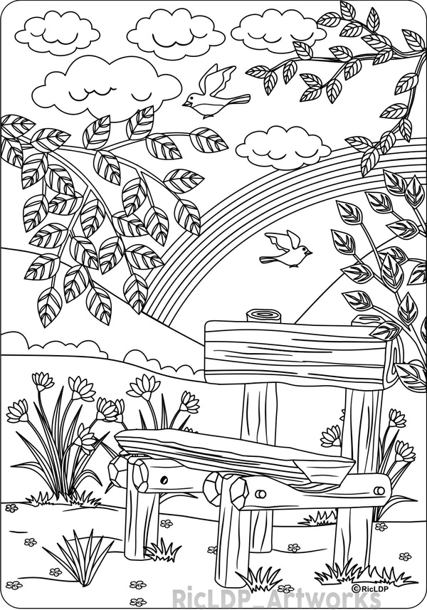 The Bench Coloring Page for Adults