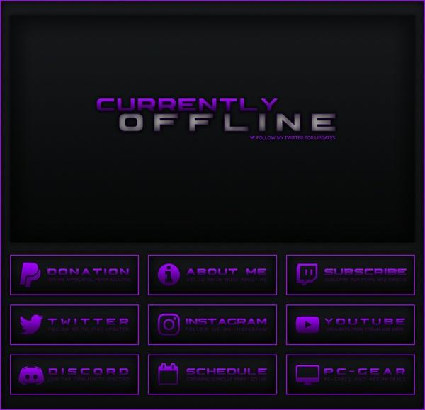 Twitch - Black / Purple Theme Pack  | Panels, Offline Screen