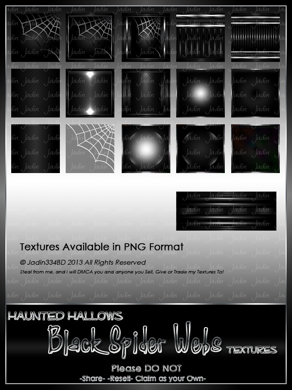 Haunted Hallows BLACK Spider Texture Pack-- $2.00