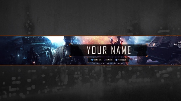 Armed Forces Gaming YouTube Channel Banner, Twitter Header & Avatar Templates