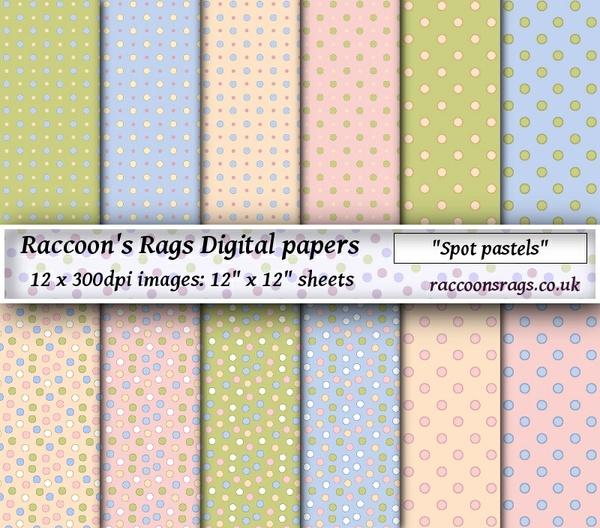 """Digital paper """"Spot pastels"""" Twelve  12"""" x 12"""" images: artjournal, collage, scrapbook, cards"""