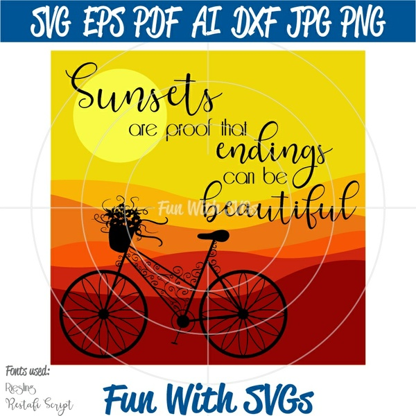 Sunset SVG File, SVG Files, Summer SVGs, Cricut svg Files, Silhouette svg Files, Vector Art