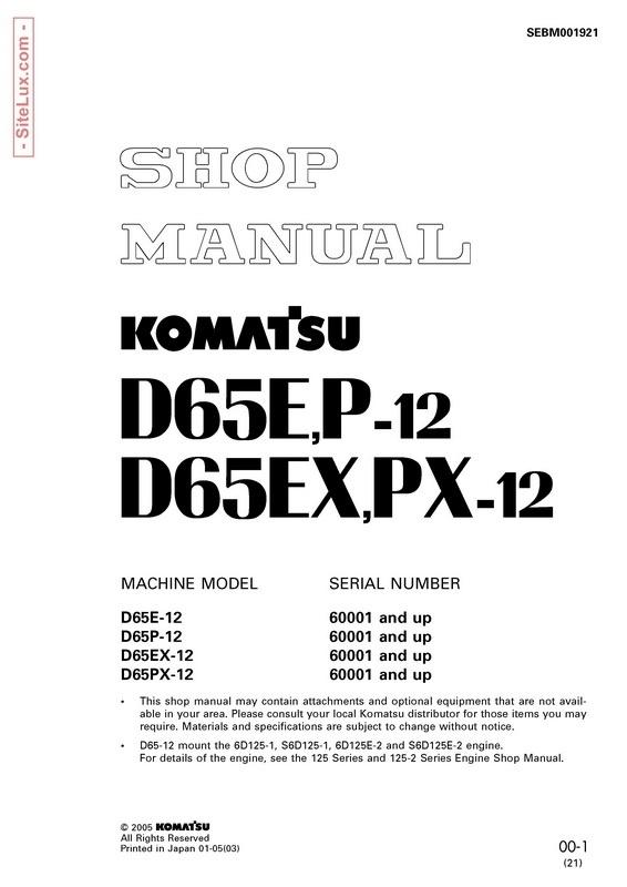 Komatsu D65E-12, D65P-12, D65EX-12, D65PX-12 Bulldozer (60001 and up) Shop Manual - SEBM001921