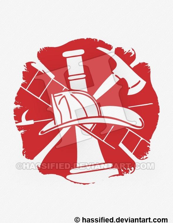 Painted Firefighter Emblem - printable, vector, svg, art