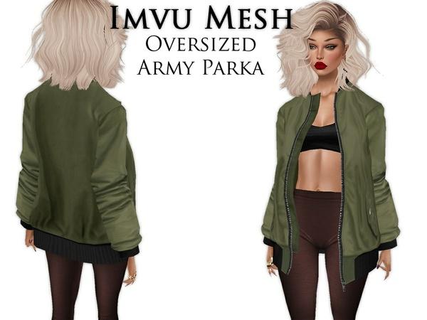 IMVU Mesh - Tops - Oversized Army Parka