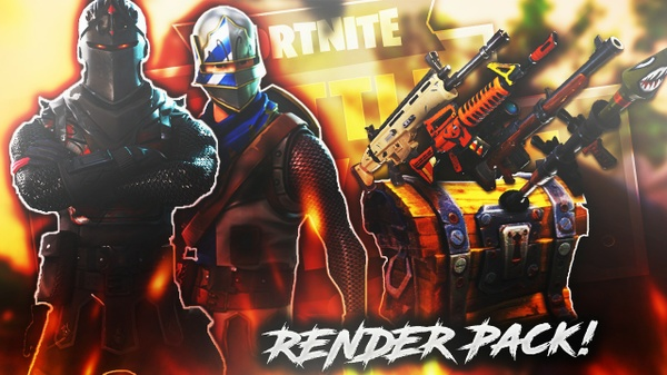 Fortnite RENDER/GFX Pack + extra Thumbnail Template!