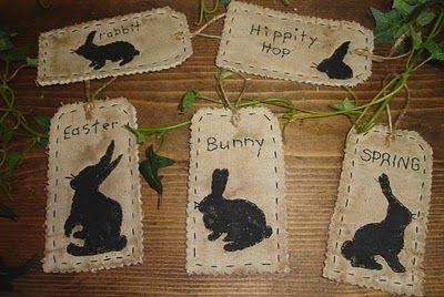 #17 Vintage Rabbit Tags E Pattern