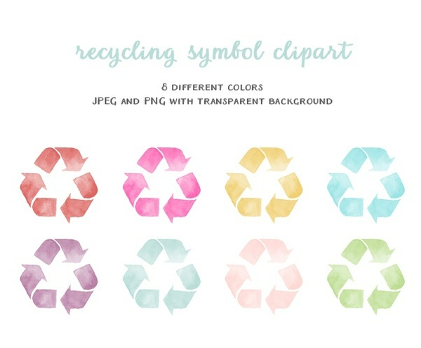 clipart- watercolor recycling symbol