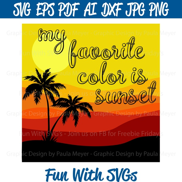 Favorite Color Sunset - SVG Cut File, High Resolution Printable Graphics and Editable Vector Art