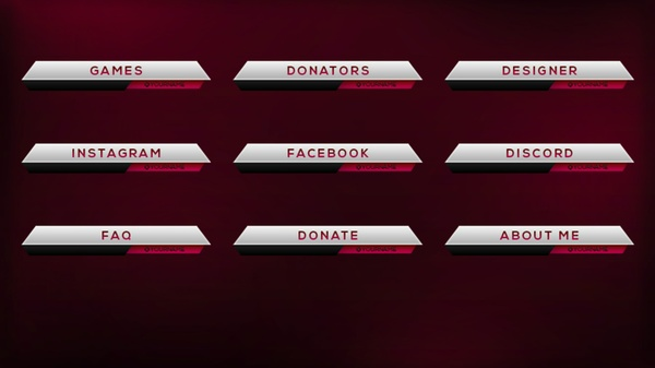 Silver and Red Twitch Panel Photoshop Template
