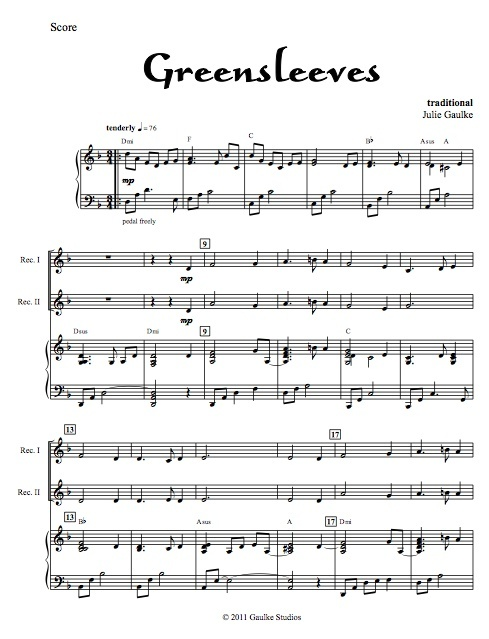Greensleeves with mp3 accompaniment track